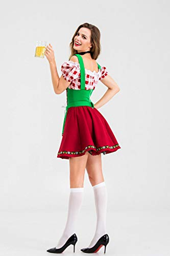 B/H Oktoberfest Kleid Dirndl Damen,Traditionelle Oktoberfest-Kostüme, Bar-Arbeitskleidung, Halloween-Kostüme im mittelalterlichen Stil - Sock_One Größe,Retro Kleid Party Kostüm