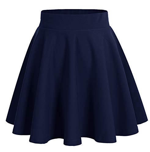 Dresstells DRESSTELLS Damen Basic Solide Vielseitige Dehnbar Informell Mini Glocken Rock Navy XL