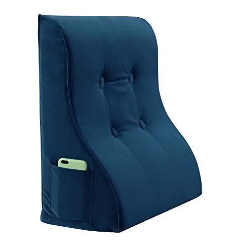 VERCART Keilkissen Rückenkissen Nackenkissen Rückenlehne Lendenkissen Rückenstütze Lesekissen Beinkissen Kopfkissen Kissen für Bett Sofa und Couch mit Waschbar Bezug Samt Blau 60cm
