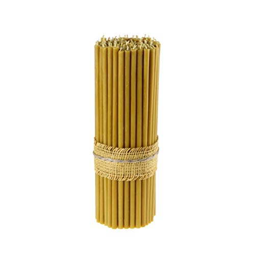 Danilovo 100% Pure Beeswax Taper Candles (Yellow) - Orthodox Church Candle Tapers for Prayer, Ritual, Christmas - No Soot, Dripless, Tall, Bendable, N10, Height 35,5 cm, Ø 11 mm (20 pcs - 572 g)