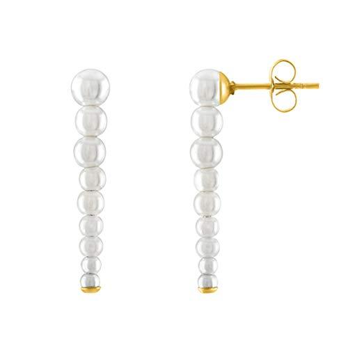 KISPER Pendientes de tuerca de acero inoxidable chapados en oro de 18 quilates con perlas para mujer.
