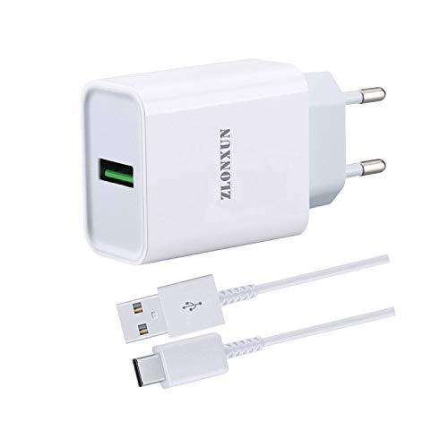 ZLONXUN Schnell ladegerät Netzteil mit USB-C Kabel für Xiaomi Poco X3 NFC/F2 Pro, Xiaomi Redmi Note 9/8 Pro/8T/7/9S, Mi 10T/10 Lite/A3/MIX 3/Mix 2S/10/Note 10