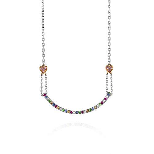 KnSam Oro Collar, Geometría Forma de Corazón Los de Colores Piedra Preciosae Oro Cadena para Mujer 18K 750 Oro Blanco con Turmalina Cadena de Oro Mujer San Valentín Collar Vistoso Cadena con Colgante
