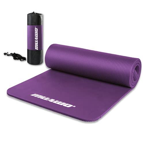 Premium Sportmatte und Fitnessmatte, perfekt als Yogamatte, Gymnastikmatte, Trainingsmatte - rutschfest, Extra-dick, Extra-lang - yoga matte - 190 Länge x60 Breite x1,35 cm dicke - Lila