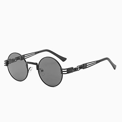 Único Gafas de Sol Sunglasses Nuevas Gafas De Sol Redondas Steampunk para Hombres Y Mujeres, Gafas De Metal A La Moda, D
