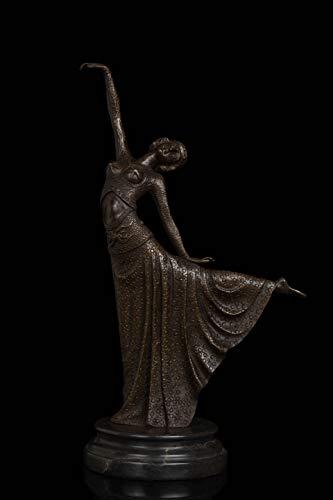 MOGANA Ornamenten Voor Woonkamer Sculptuur Standbeeld Decoratie Lange Rok Dansende Vrouw Object Bronzen Carving Home Furnishings Hotel Decoratie Brons Carving Ambachten