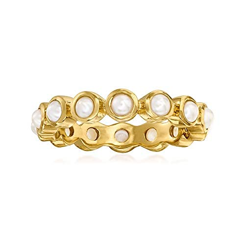 Anillo de eternidad de perlas cultivadas de 3 mm en oro de 18 quilates sobre plata de ley
