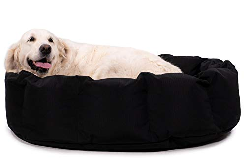 K9 Ballistics Round Dog Bed Deep Den, Bagel, Donut, and Deep Dish Style for Cuddler, Machine Washable (Black Large 36' x 28' x 10')