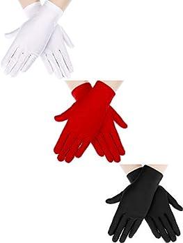Sumind 3 Pairs Wrist Length Gloves Women Short Satin Gloves Opera Short Gloves for 1920s Wedding Party  Black 2 White 2 Red 2