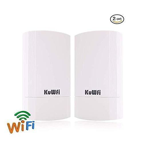 KuWFi Kit CPE esterno wireless da 900 Mbps da 2 pacchetti, Bridge/CPE wireless point-to-point per interni ed esterni Supporta la soluzione di trasmiss
