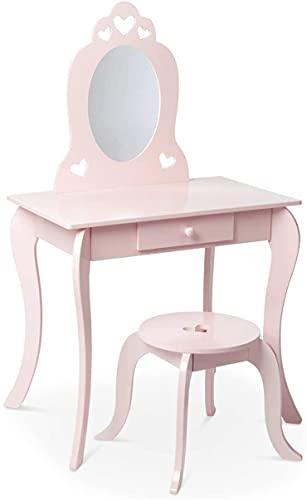 Milliard Kinder Schminktisch mit Hocker und Abnehmbarer Spiegel, Frisierkommode mit Schublade und Herz Entwurf (64x40x107cm) Rosa Kommode für Mädchen 3-7 Jahre