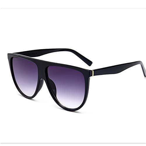 HNGM Gafas de Sol Moda Gafas de Sol Señoras Retro Plano Top Gafas de Sol de Gran tamaño Cuadrado Lentes Negras Grandes (Lenses Color : Negro)