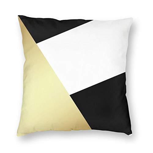 Funda de cojín geométrica, color negro, blanco y dorado metálico, de terciopelo, suave, decorativa, cuadrada, funda de almohada para salón, sofá o dormitorio con cremallera invisible de 20 x 20 pulgadas