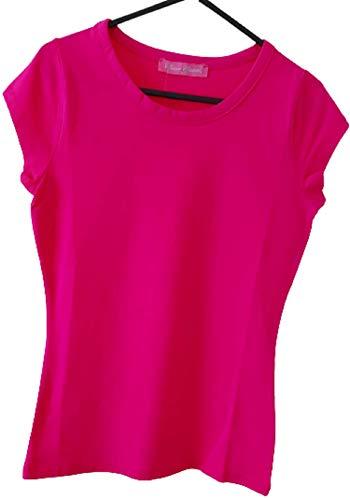 Mesdames lycra à manches courtes en coton uni T-shirt rose – XS