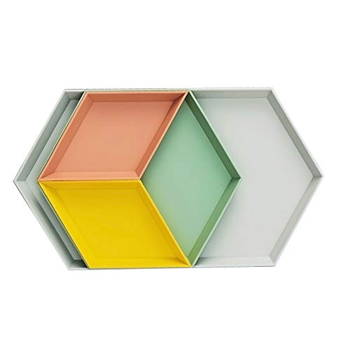 MCleanPin Trinket Dish, Unbreakable Geometric Vanity Tray,Jewelry Tray, Ring Dish, Decorative Tray, Food Serving Tray,(4Pack,4colors) for Wedding,Birthday and Shower