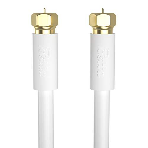 Postta アンテナケーブル 3M 同軸ケーブル S-5C-FB 4K8K 地デジ・BS・CS・CATV放送対応 金メッキプラグ F型プラグ ホワイト