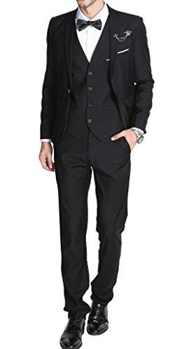 MOGU Mens Suits Slim Fit 3 Piece US Size Regular 34/Waist 31 Black