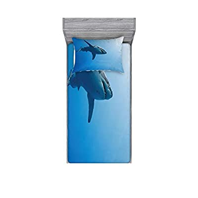 Ambesonne Shark Fitted Sheet & Pillow Sham Set, Fish Swimming in The Ocean Underwater Beauty Tropical Island Water Nature Landscape, Decorative and Printed 2 Piece Bedding Set