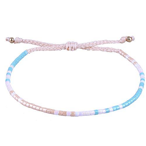 KANYEE Bracelets à Breloques tissés à la Main avec Perles – Bracelet Fait à la Main – pour Femme et Adolescente