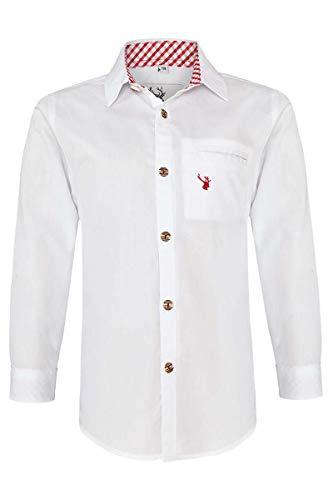 Spieth & Wensky Jungen Kinder Trachtenhemd weiß rot, WEIß/ROT, 158/164