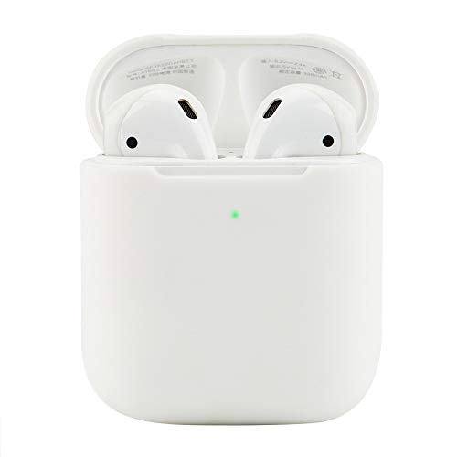 Protective Airpods Case [Front LED Visible][Supports Wireless Charging][Made of 2 Pcs] Shock Proof Soft Skin for Airpods Charging Case 1&2 (White)
