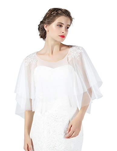 Lace Cape Wedding Tulle Cloak Capelet Vintage Shrug Bolero Shawl Cover Up for Women Evening Bridal Summer Top White Plus Size