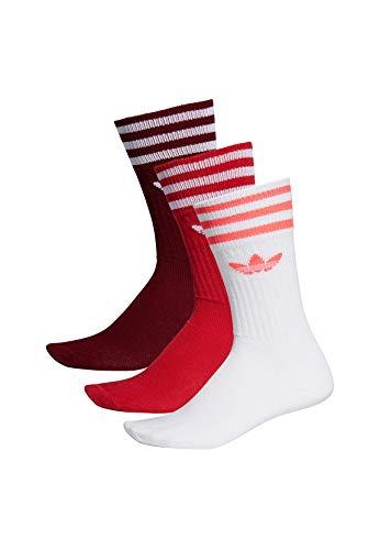 Adidas Solid Crew Socks Socken 3er Pack (39-42, rot/weiß)