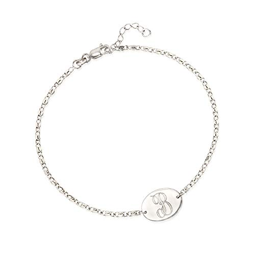 Ross-Simons Sterling Silver Single Initial Oval Plate Anklet For Women 9 Inch 925
