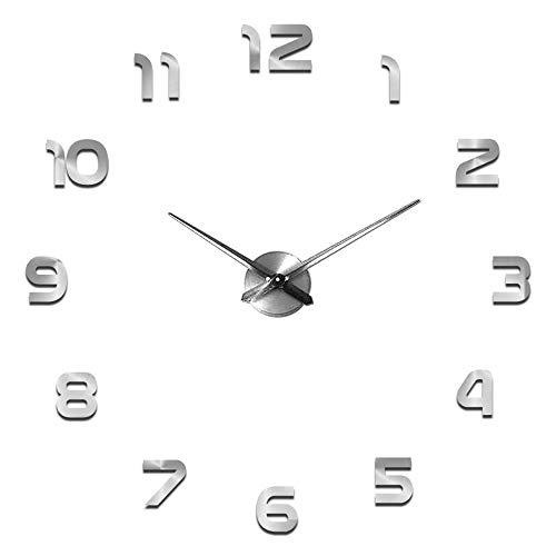 SHS2018 Reloj de pared con diseño moderno y silencioso, 3D, adhesivo para el hogar, la oficina, decoración de regalo, plata