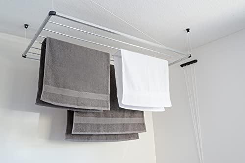 DRY-SMART Stendibiancheria da soffitto in alluminio – Stendibiancheria da soffitto – per vasca da bagno, balcone, interni ed esterni – salvaspazio – semplice fissaggio a soffitto