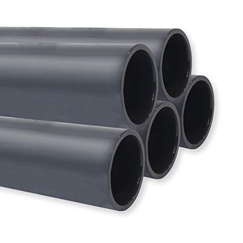 PVC Rohr PN10, Stange 1m x Ø 50mm, Qualität aus Europa, Menge: 5 Stück