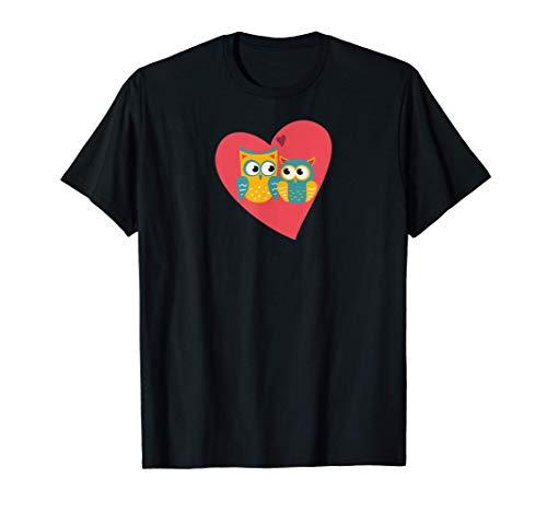 BÚHO Parejas Regalo Boda Aniversario San Valentín Original Camiseta