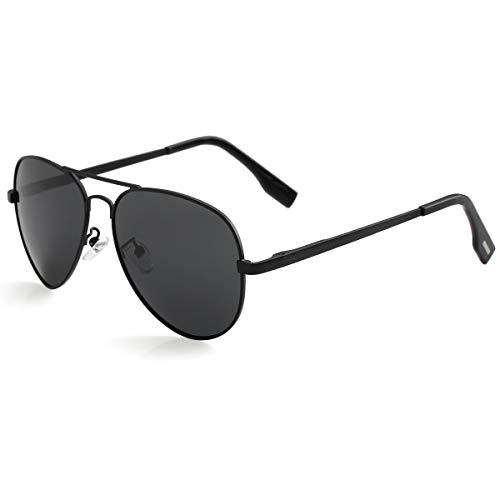 Gafas de sol polarizadas de aviador para rostro pequeño, protección 100% UV400, 52 mm (lente negro/negro)
