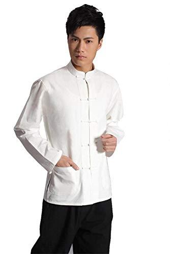 XPF Traditionelles China Antikes Kostüm Kampfkunst Tangzhuang Kung Fu Langarm Jacke Anzüge Hemd Uniform Männer,White-L