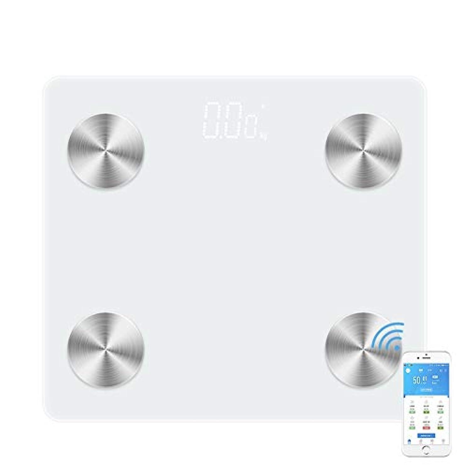 愛かわす許容JXSHQS 新しい家庭用体脂肪計Bluetooth音声放送共有電子体重計スマート体重計 体脂肪計 (Color : Super white circle, Size : 295*265*24mm)