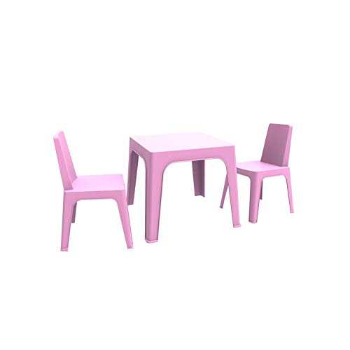 resol Julieta set infantil de 2 sillas y 1 mesa para interior, exterior, jardín - color rosa