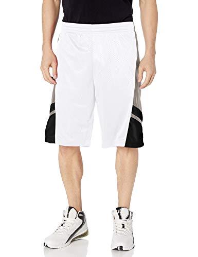 Southpole Men's Basic Basketball Mesh Shorts, White, X-Large