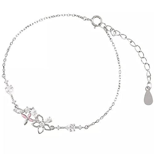 WLLLTY Pulsera Mujer, Cadena de Plata de Ley 925 de Moda, Pulsera Floral de Cristal, joyería de Boda para Mujer