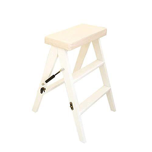 Stool Ladder- Tabouret pliant en bois massif échelle domestique simple moderne portable multifonctionnel tabouret haut avec coussin en cuir souple (Couleur : Blanc)