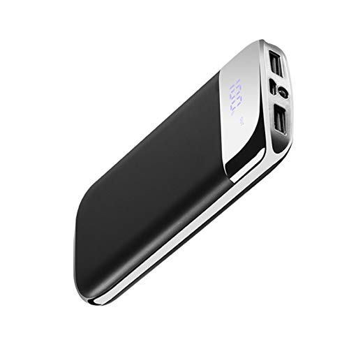Electroplating outdoor power bank 20000mAh, external fast charger, portable power bank with 2 USB outputs and LED lighting, suitable for smart phones, tablets Black