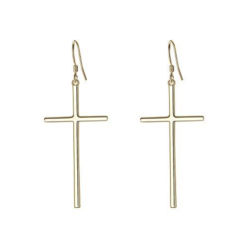 EVER FAITH 925 Sterling Silver Classic Dangle Hook Cross Earrings Golden Minimalist Church Jewelry for Women, Girls