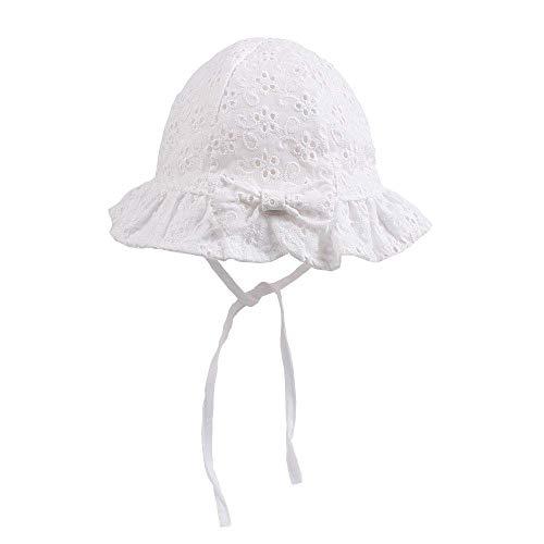 Sunowo Sombrero de verano para niñas, sombrero para el sol, plegable, sombrero de pescador, para verano,100% algodón, protección UV 50, Blanco.48