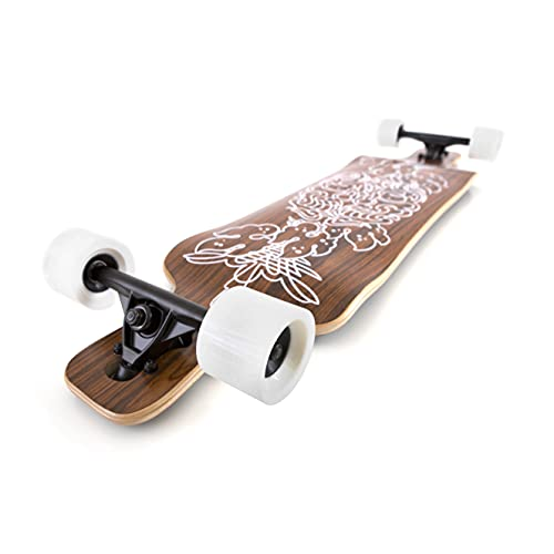 Black Longboards Collection | Longboard Skateboard Complete | Exotic Wood with Canadian Maple Core | Cruising, Carving, Freestyle, Dancing, Downhill, Freeride (Samurai)