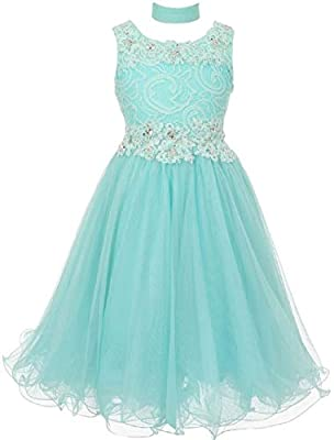 Elegant Rhinestone Lace Easter Pageant Party Flower Girl Dress Collection 4-20