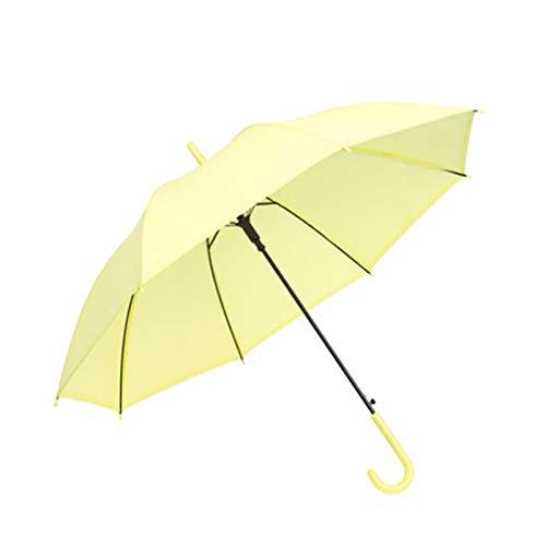 YXIUER Paraguas semiautomático para lluvia y sol, paraguas japonés, de mango largo, 8 huesos, color puro, esmerilado (color: Huang)