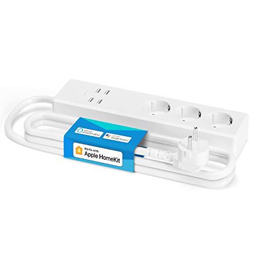 Meross Smart Steckdosenleiste kompatibel mit HomeKit, WLAN Mehrfachsteckdose mit Überspannungsschutz, 3 AC Ausgänge und 4 USB Anschlüsse funktioniert mit Siri, Alexa, Google Home und SmartThings