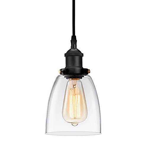 WODQYAZ Luces Colgantes Araña de Techo, Luminaria Colgante Industrial Moderna para Casa de Campo y Habitación con Pantallas de Vidrio Transparente