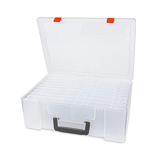 "Photo Storage Box 4"" x 6"", 18 Inner Photo Case Extra Large Photo Organizer Acid-Free Photo Box Keeper Storage Case, Plastic Craft Storage Box for Stickers Stamps Seeds"