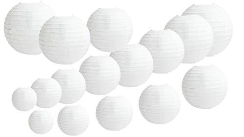 16 STKS papieren lantaarns, rond wit papier lantaarn met draad Ribbing, verschillende grootte witte lampenkappen, 4