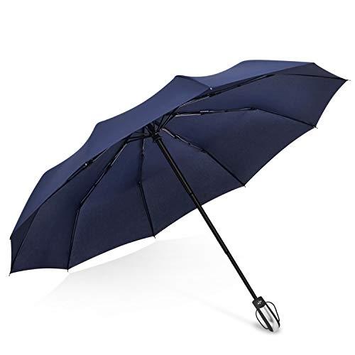 DORRISO Abrir automáticamente Cerrar Plegable Paraguas Mujeres Hombres Sombrilla 210T de Alta Densidad Portátil Compacto Resistente al Viento Impermeable Anti-UV Ligero Paraguas Azul A